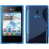 Silikon Hülle Optimus L3 S-Style blau + 2 Schutzfolien