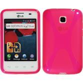 Silikon Hülle Optimus L3 II Dual X-Style pink + 2 Schutzfolien