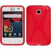 Silikon Hülle Optimus L3 II Dual X-Style rot + 2 Schutzfolien