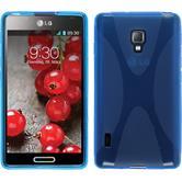 Silikon Hülle Optimus L7 II X-Style blau + 2 Schutzfolien