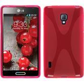 Silikon Hülle Optimus L7 II X-Style pink + 2 Schutzfolien