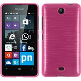 Silikon Hülle Lumia 430 Dual brushed pink + 2 Schutzfolien