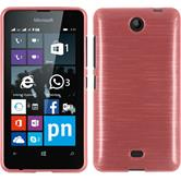 Silikon Hülle Lumia 430 Dual brushed rosa + 2 Schutzfolien