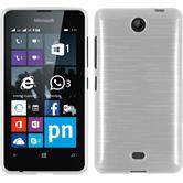 Silikon Hülle Lumia 430 Dual brushed weiß + 2 Schutzfolien
