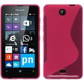 Silikon Hülle Lumia 430 Dual S-Style pink + 2 Schutzfolien