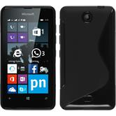 Silikon Hülle Lumia 430 Dual S-Style schwarz + 2 Schutzfolien