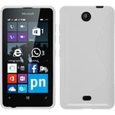 Silikon Hülle Lumia 430 Dual S-Style weiß + 2 Schutzfolien