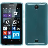 Silikon Hülle Lumia 430 Dual transparent türkis + 2 Schutzfolien