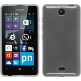 Silikon Hülle Lumia 430 Dual transparent weiß + 2 Schutzfolien