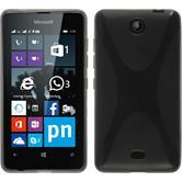 Silikon Hülle Lumia 430 Dual X-Style grau + 2 Schutzfolien