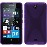 Silikon Hülle Lumia 430 Dual X-Style lila + 2 Schutzfolien