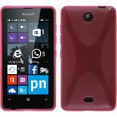 Silikon Hülle Lumia 430 Dual X-Style pink + 2 Schutzfolien