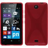 Silikon Hülle Lumia 430 Dual X-Style rot + 2 Schutzfolien