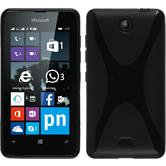Silikonhülle für Microsoft Lumia 430 Dual X-Style schwarz