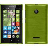 Silikon Hülle Lumia 435 brushed pastellgrün + 2 Schutzfolien
