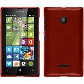 Silikon Hülle Lumia 435 brushed rot + 2 Schutzfolien