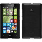 Silikon Hülle Lumia 435 brushed silber + 2 Schutzfolien