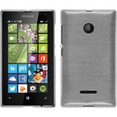 Silikon Hülle Lumia 435 brushed weiß + 2 Schutzfolien