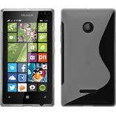 Silikon Hülle Lumia 435 S-Style clear + 2 Schutzfolien
