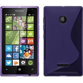 Silikon Hülle Lumia 435 S-Style lila + 2 Schutzfolien