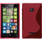 Silikon Hülle Lumia 435 S-Style pink + 2 Schutzfolien