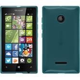 Silikon Hülle Lumia 435 transparent türkis + 2 Schutzfolien