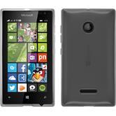 Silikon Hülle Lumia 435 transparent weiß + 2 Schutzfolien