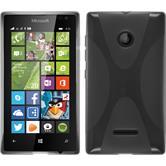 Silikon Hülle Lumia 435 X-Style grau + 2 Schutzfolien