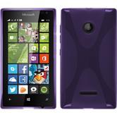 Silikon Hülle Lumia 435 X-Style lila + 2 Schutzfolien