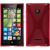 Silikon Hülle Lumia 435 X-Style pink + 2 Schutzfolien