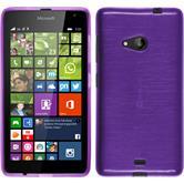 Silikon Hülle Lumia 535 brushed lila + 2 Schutzfolien