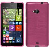 Silikon Hülle Lumia 535 brushed pink + 2 Schutzfolien