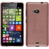 Silikon Hülle Lumia 535 brushed rosa + 2 Schutzfolien