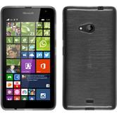 Silikon Hülle Lumia 535 brushed silber + 2 Schutzfolien
