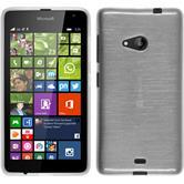 Silikon Hülle Lumia 535 brushed weiß + 2 Schutzfolien