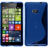 Silikon Hülle Lumia 535 S-Style blau + 2 Schutzfolien