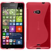Silikon Hülle Lumia 535 S-Style pink + 2 Schutzfolien