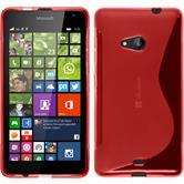 Silikon Hülle Lumia 535 S-Style rot + 2 Schutzfolien