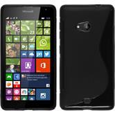 Silikon Hülle Lumia 535 S-Style schwarz + 2 Schutzfolien