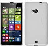 Silikon Hülle Lumia 535 S-Style weiß + 2 Schutzfolien