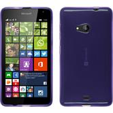 Silikon Hülle Lumia 535 transparent lila + 2 Schutzfolien