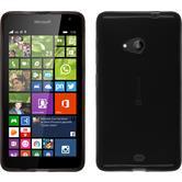 Silikon Hülle Lumia 535 transparent schwarz + 2 Schutzfolien