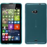 Silikon Hülle Lumia 535 transparent türkis + 2 Schutzfolien