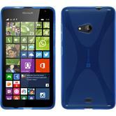 Silikon Hülle Lumia 535 X-Style blau + 2 Schutzfolien