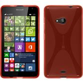 Silikon Hülle Lumia 535 X-Style rot + 2 Schutzfolien