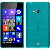 Silikon Hülle Lumia 540 Dual brushed blau + 2 Schutzfolien