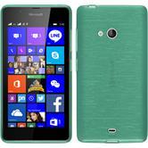Silikon Hülle Lumia 540 Dual brushed grün + 2 Schutzfolien