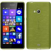 Silikon Hülle Lumia 540 Dual brushed pastellgrün + 2 Schutzfolien