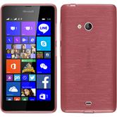 Silikon Hülle Lumia 540 Dual brushed rosa + 2 Schutzfolien