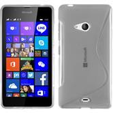 Silikon Hülle Lumia 540 Dual S-Style clear + 2 Schutzfolien